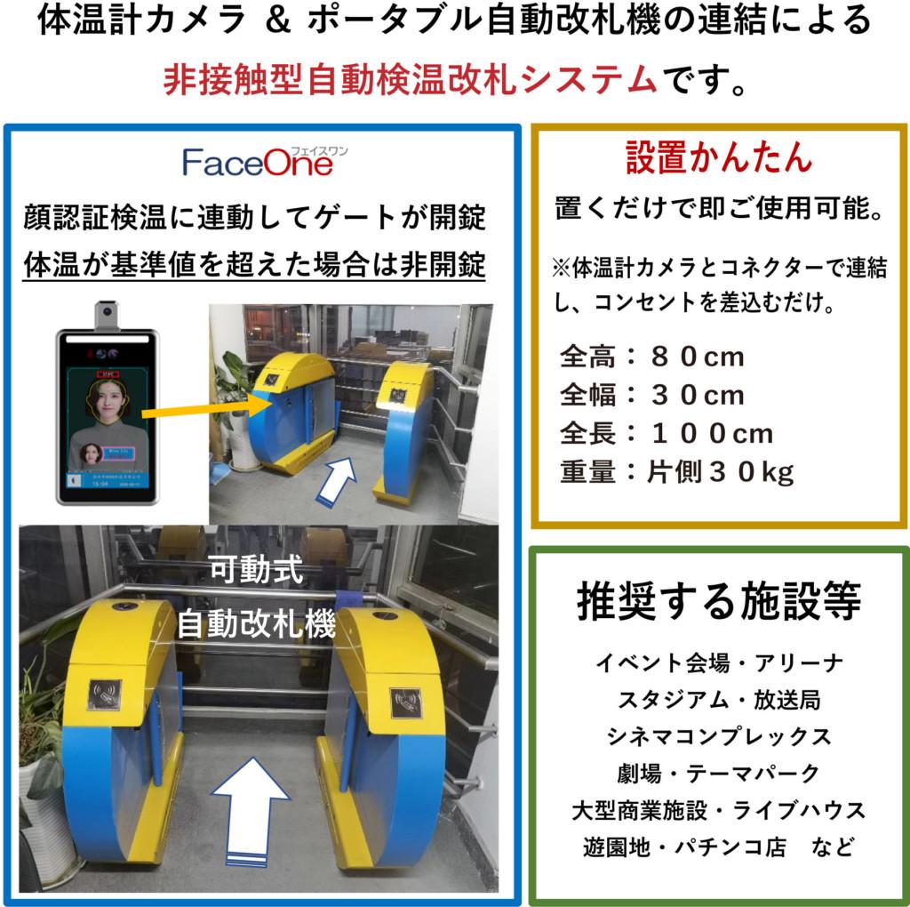 体温計カメラ & ポータブル自動改札機の連結による非接触型自動検温改札システムです。FaceOne 顔認証検温に連動してゲートが開錠 体温が基準値を超えた場合は非開錠 設置かんたん 置くだけで即ご使用可能。体温計カメラとコネクターで連結 し、コンセントを差込むだけ。 全高:80cm 全幅:30cm 全長:100cm 重量:片側30kg 可動式 自動改札機 推奨する施設等 イベント会場・アリーナ スタジアム・放送局 シネマコンプレックス 劇場・テーマパーク 大型商業施設・ライブハウス 遊園地・パチンコ店 など