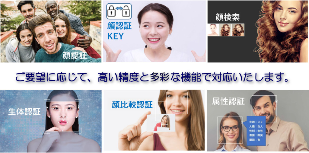 顏検索 顏認証 KEY 顏認証 顔比較認証 属性認証 生体認証 ご要望に応じて、高い精度と多彩な機能で対応いたします。